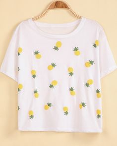 $12 White Short Sleeve Pineapple Print Loose T-Shirt pictures