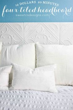 Pretty insulation form  tiles on side wall to protect against cold wall use with double stick tabs or command hook tabs. Faux Tiled Headboard
