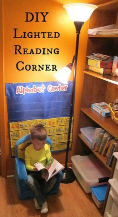 DIY Lighted Reading Corner with GE Reveal lightbulbs #cbias