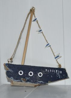 Hanging driftwood boat decoration by Upcycle art creations