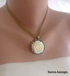 ivory Resin Rose Necklace ,bridesmaids gifts,Antique Brass Necklaces, Vintage Inspired Bridal Jewelry,Rose Necklace ,Spring Wedding,