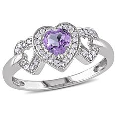 3/8 CT. T.W. Amethyst and 1/8 CT. T.W. Diamond Heart Ring in 10K White Gold (GH) (I2:I3)
