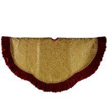 "Sterling 48"" Gold Tree Skirt With Velvet Ruffle Border http://astore.amazon.com/wonderfulrota0009-20/detail/B00A3WB8SS"