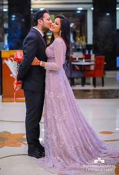 Love this lilac reception gown by Natasha Dalal Label Engagement Dress For Groom, Engagement Gowns, Couple Wedding Dress, Indian Wedding Gowns, Indian Bridal Outfits, Indian Bridal Wear, Reception Gown For Bride, Bridal Lehenga Online, Anniversary Dress