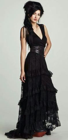 Black layered lace dress
