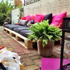 """Outdoor sofa, perfect along retaining wall, elevate higher for """"stadium seating""""."""