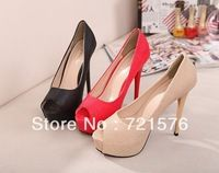 2014 Hot cheap free shipping fashion fish mouth waterproof Taiwan fine with high heels shoes wholesale