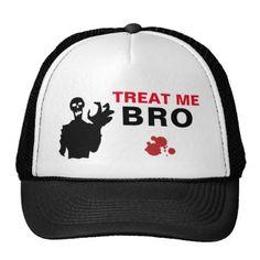 #Zombie Treat Me Bro funny Halloween customizable Trucker Hat - #Halloween happy halloween #festival #party #holiday