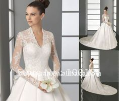 Hot! 2012 Modern A Line Sweetheart Long Sleeve Lace Satin Princess Gown Wedding Dress Bridal Gowns A001 Dresses-in Wedding Dresses from Apparel & Accessories on Aliexpress.com