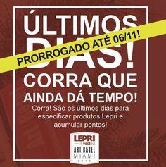 ÚLTIMO FINAL DE SEMANA!! É a sua chance de viajar com a Lepri para uma das mais importantes feiras de arte do mundo!    Prorrogamos para compras feitas até 06 de novembro de 2016 em todas as lojas do Brasil. Então aproveite e acumule pontos para não ficar de fora!