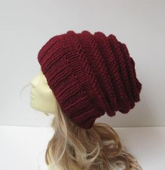 Slouchy Beanie  Womens knit hats  Burgundy cable by selmahandcraft