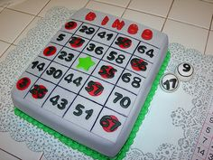Bingo Card Cake - would love to do this for my and only Dob Would use mult. Bingo Cake, Bingo Party, Birthday Cakes, Birthday Ideas, Happy Birthday, Cupcake Cookies, Cupcakes, Bingo Night, Cake Decorating