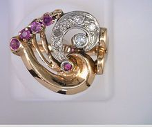 Art Deco Pink Sapphires & Diamonds 14kt Gold Ring
