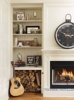 Wood Storage Urban decor, like quote blocks (Interserve Outcomes) is cute and decreate for th… Tall Fireplace, Fireplace Shelves, Fireplace Built Ins, Fireplace Remodel, Living Room With Fireplace, My Living Room, Living Room Decor, Fireplace Ideas, Wood Holder For Fireplace
