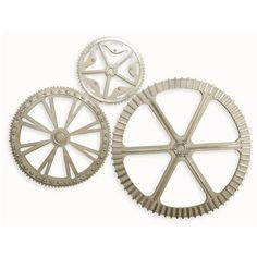 Interlude Wyatt Wood/Metal Industrial Wall Gears (2,115 CAD) ❤ liked on Polyvore featuring home, home decor, wall art, decor, wall decor, metal gear wall art, wood wall art, gray home decor, wooden home decor and wood home decor