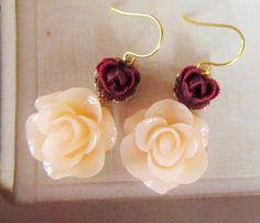 Translucent Light Pink Elegant Flower Earrings. I totally LOVE these.