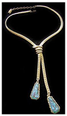 Whiting Davis Egyptian Revival Pharoah & Cobra Lariat Necklace