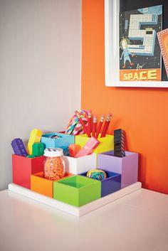 pen pot, stationary storage, desk-tidy, kid's pen pots, white stationary holder, rainbow design, personalised desk tidy, children's desk tidy, desk organiser