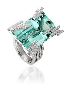 Mathon Paris Manhattan Iceberg 46 ct. Beryl and Diamond Ring