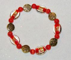 BEADED STRETCH BRACELET-HANDCRAFTED-LAMPWORK-CATS EYE-RED-GOLD-FREE GIFT-$12.99   eBay