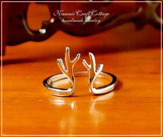925 sterling silver jewelry, sterling silver ring, animal ring, reindeer ring, horn ring, antler ring, Kawaii jewelry, cute ring, her gift,