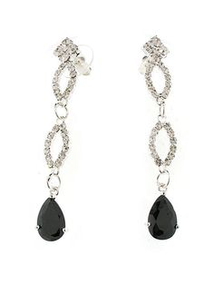 Jet Black & Silver Earrings - Perfect to go with your #LBD  #Free Shipping #Earrings