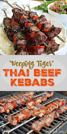Weeping Tiger Thai Beef Kebabs are spicy-sweet, smoky recipe that's super simple to make with sirloin steak or another tender beef cut! Protein packed and suitable for Paleo, keto and low carb diets. Kebab Recipes, Steak Recipes, Grilling Recipes, Asian Recipes, Low Carb Recipes, Healthy Recipes, Thai Food Recipes, Dessert Recipes, Barbecue Recipes