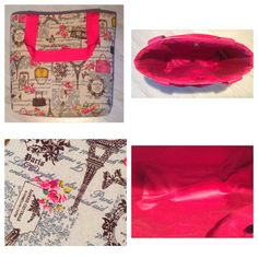 Handmade tote bag with pink lining and matching handles, magnetic clasp for closure. Made in Scotland. by Giftwithlovebysian on Etsy