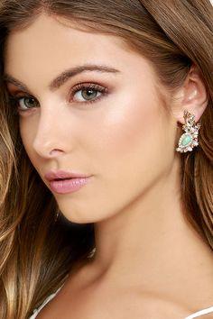 Cute Rhinestone Earrings - Turquoise Earrings - $12.00