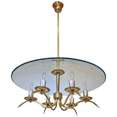 Italian Fontana Arte Style Brass Etched Glass Chandelier | From a unique collection of antique and modern chandeliers and pendants  at https://www.1stdibs.com/furniture/lighting/chandeliers-pendant-lights/