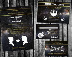 Rebels Star Wars Wedding Invitation, Save the Date, RSVP, and Thank You Digital File Kit Printable force x wing millennium falcon han leia