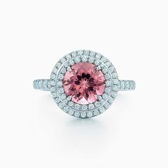 Tiffany Soleste® ring in platinum with a pink tourmaline and diamonds.
