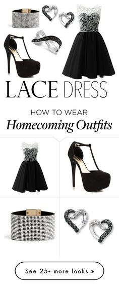 """lace dress"" by mariskadbeer on Polyvore featuring JustFabulous, LeVian and GUESS"