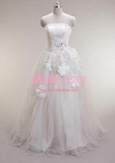 Tulle/Satin Strapless Beaded Ball Gown with Rhinestones/Flowers Fairytale Princess Wedding Dress (WDS010690) $279.99