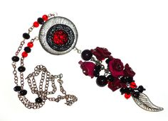 Silver Polymer clay Necklace with redwine glassstone by flowerdeco, $39.00