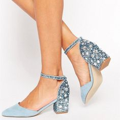 Women's Style Pumps and D'orsay Heels Lightblue Pointy Toe Rhinstone Ankle Strap Heels Chunky Heels Pumps For Work Chic Fashion Prom Shoes Elegant Wedding Dresses Shoes Summer Bucket List Ideas Elegant New Year Prom Shoes Valentines Day Outfits For Women, Formal Event   FSJ