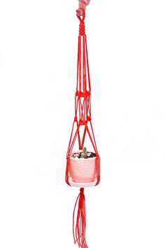 24 inches Red Plant Hanger - Wedding Decor Idea - Macrame  Plant  Holder 3mm Cord - Hanging Planter by DanceOfTheSoul on Etsy