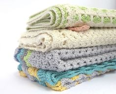 A collection of crochet babies blankets. Beach Fans, Peach Blossom, Sea Breeze and Pink Sprinkles were all sent off to their new home - a brand new real life bricks and mortar shop!