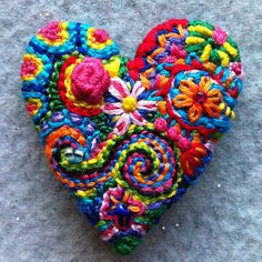 RESERVED CUSTOM LISTING for Carol Freeform embroidery bright heart brooch