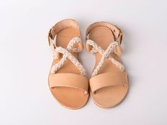 Items similar to Slip on Criss Cross Sandals natural color and white ropes - Greek sandals - Eleanna Katsira Donousa - Wedding sandals - Ancient Greek Sandal on Etsy Natural Leather, Tan Leather, Leather Sandals, White Statement Necklaces, Metal Necklaces, Greece Outfit, Greek Fashion, White Rope, Ancient Greek Sandals