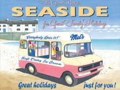 New Retro seaside Ice Cream Van # 113 Vintage Style Metal Wall Plaque Sign | eBay