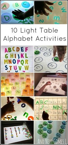 10 Ways to Learn the Alphabet on the Light Table 10 light table activities for kids to learn their ABCs from And Next Comes L Reggio Emilia, Preschool Literacy, Literacy Activities, Activities For Kids, Literacy Stations, Kindergarten Science, Reading Activities, Preschool Ideas, Early Learning