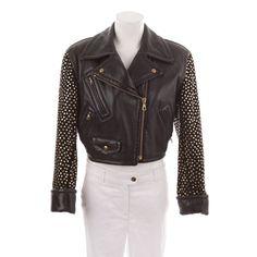 Stylische Lederjacke von Moschino in Schwarz Gr. 38 - luxuriös und extravagant