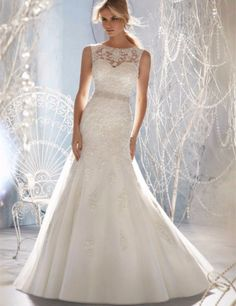 A Day of Magic Crystal Beaded A Line Wedding Dress - The Chic Find