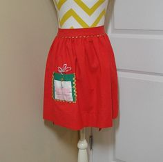 Vintage 1960s Red Cotton Christmas Apron with Pocket Decorated Like Christmas Gift, Gold, Silver Rick Rack Trim, Nice for Christmas Kitchen by VictorianWardrobe on Etsy