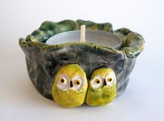 Owls Ceramic Tealight Candle Holder Green Yellow di HystericOwl