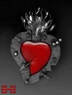 Sacred heart, industrial feel, love the resin or plastique in the center here.
