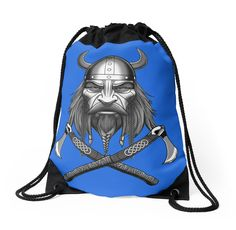 Viking Warrior Drawstring Bag - Blue *Made from 100% polyester woven fabric *Wide, soft drawcord that's easy on your shoulders *Durable quality metal grommets *Long-lasting printed design on both front and back