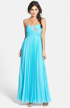 Way-In Embellished Pleat Strapless Gown (Juniors)