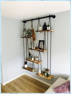 DIY Home Decor, room decor plan number 8937095780 for the truly eye-catching decor. Cheap Home Decor, Diy Home Decor, Homemade Home Decor, Wood Home Decor, Home Decoration, Table Decorations, Sweet Home, Diy Hanging Shelves, Floating Shelves